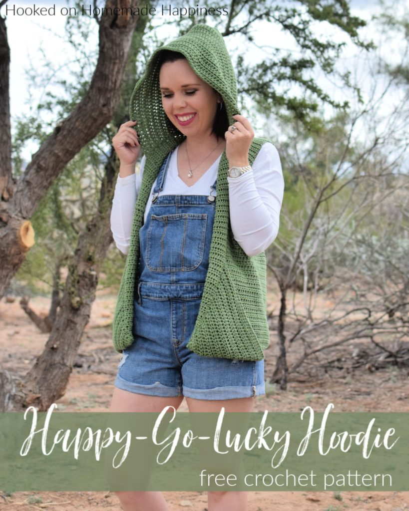 Happy-Go-Lucky Hoodie Crochet Pattern - The Happy Go Lucky Hoodie Crochet Pattern is made as almost one whole piece with very little sewing. It's such an adorable accessory! The cotton yarn makes is breathable and perfect for the warm days and cool evenings of spring.