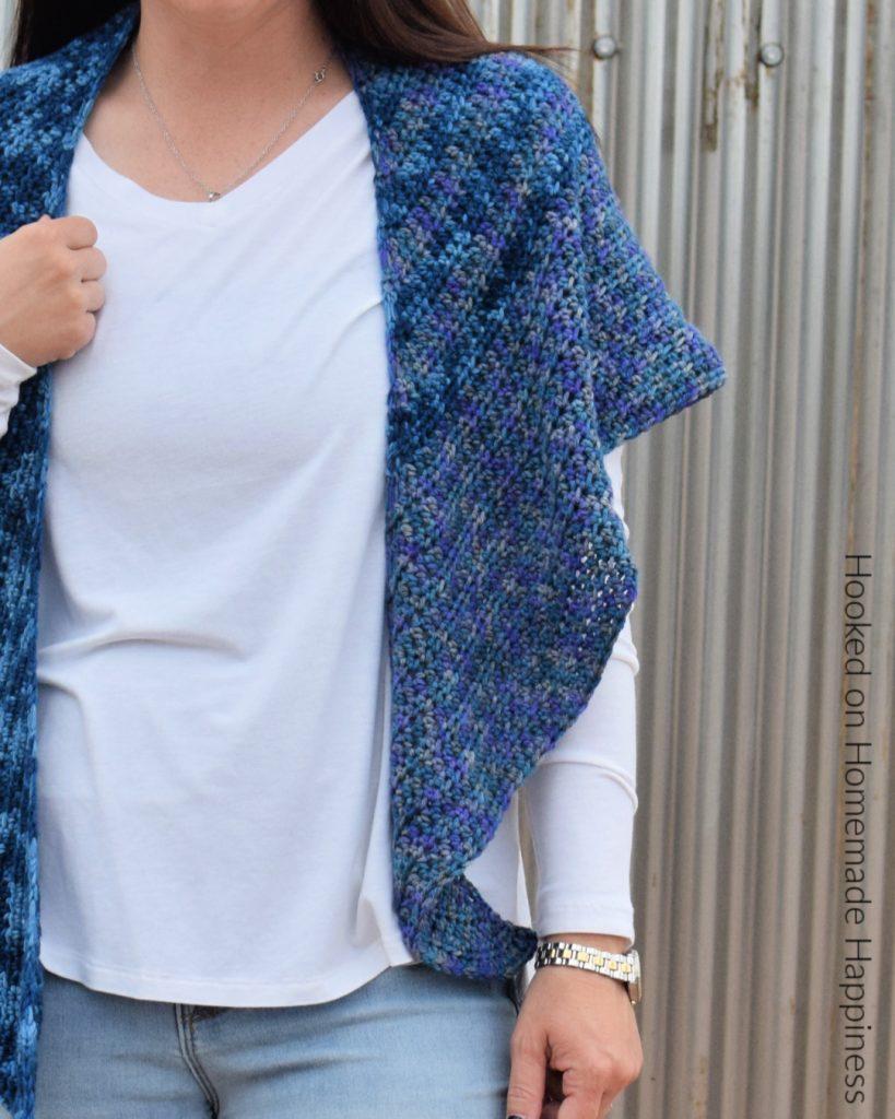 Waterfall Shawl Crochet Pattern - The Waterfall Shawl Crochet Pattern is a quick make that's all half double crochet! It's a great boomerang style shawl that is beginner level.