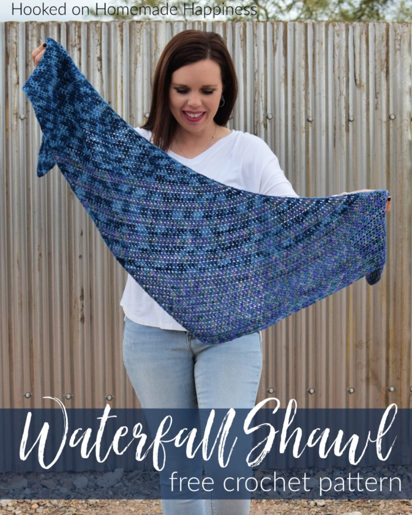 Waterfall Shawl Crochet Pattern - The Waterfall Shawl Crochet Pattern is a quick make that's all half double crochet! It's a great boomerang style shawl that is beginner level.
