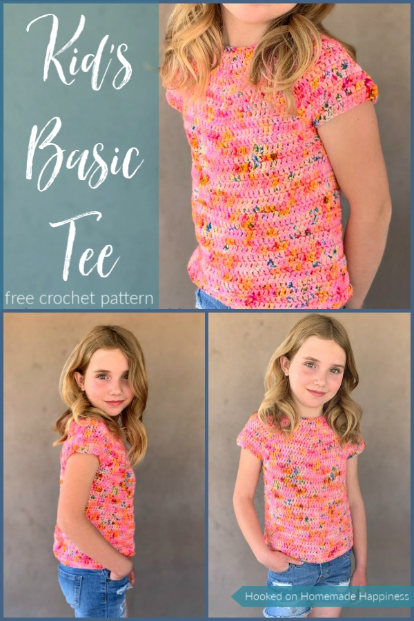 Kid's Basic Tee Crochet Pattern - The Kid's Basic Tee Crochet Pattern is a super easy kid's top that uses worsted weight yarn and all double crochet. The best part is... there's no sewing!