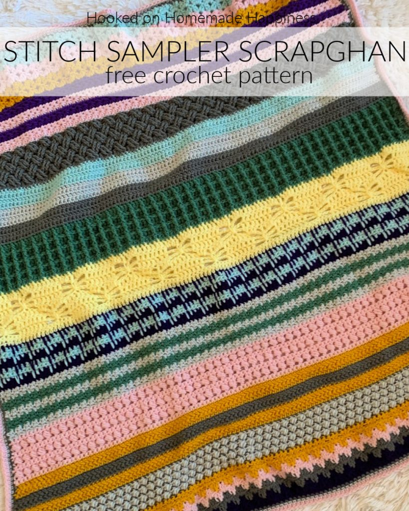 We made it to the Simple Crochet Blanket Border! This is the last week for the Stitch Sampler Scrapghan CAL! Can you believe it? Thank you SO MUCH for joining me in this event!