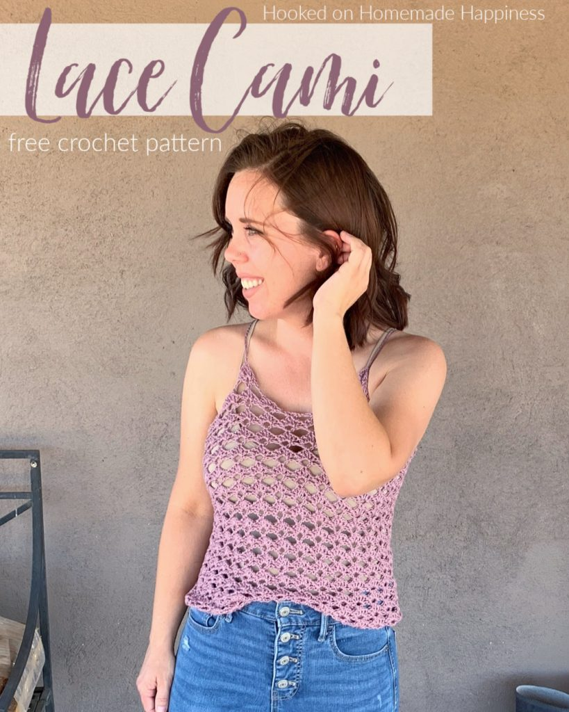 Lace Cami Crochet Pattern - This Lace Cami Crochet Pattern is a simple 2 row repeat! It looks so cute layer with a jacket for spring & summer.