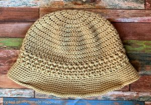 Basketweave Brim Bucket Hat Crochet Pattern - The Basketweave Bucket Hat Crochet Pattern starts as a basic double crochet beanie with a cute textured brim - perfect for summer!