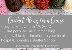 Hi friends! I'm excited to start this year's Crochet Along for a Cause! Last year was such a success and so much fun. Last year we made over 9,000 hats for donation!