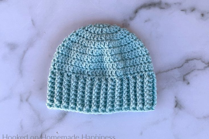 Wide Brim Baby Beanie Crochet Pattern - The Wide Brim Baby Hat Crochet Pattern is a super quick & easy pattern. The stretchy ribbing will be nice and cozy around a little one's ears!