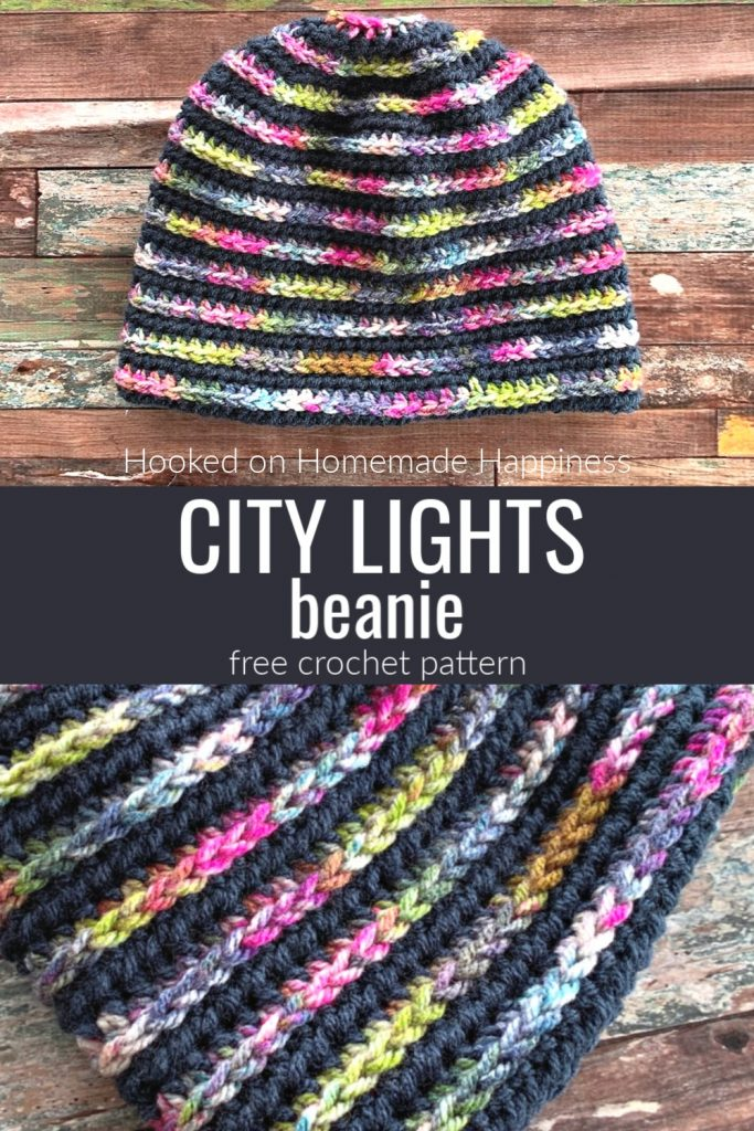 City Lights Beanie Crochet Pattern - The City Lights Beanie Crochet Pattern uses one of my favorite stitch techniques, HDC in the 3rd loop.