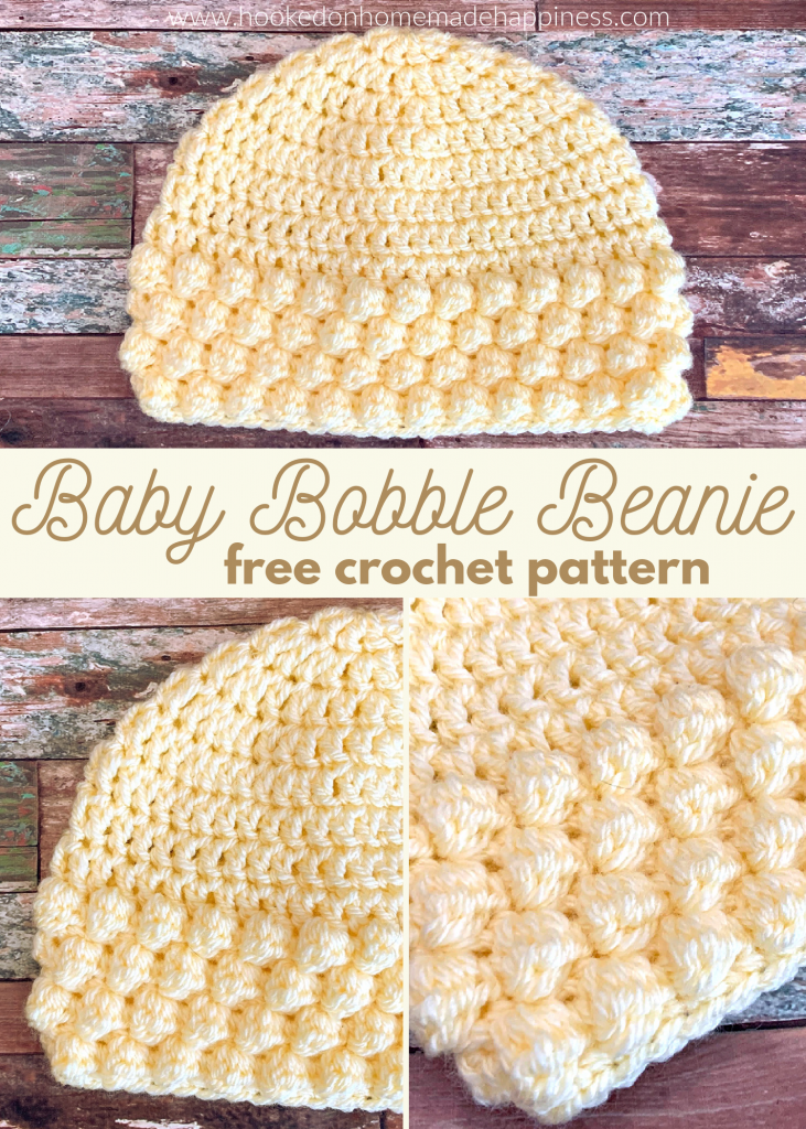 Baby Bobble Beanie Crochet Pattern - The Baby Bobble Beanie Crochet Pattern has such a cute bobble texture! It's an easy and quick hat. Perfect for a last minute gift or donation!