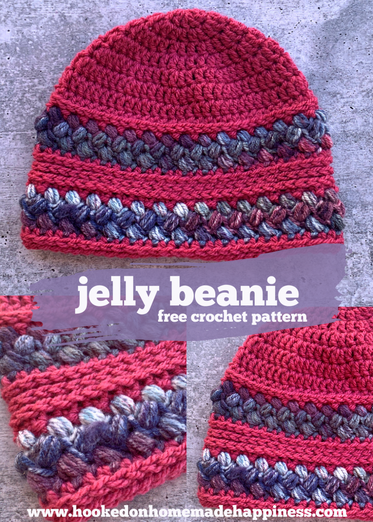Jelly Beanie Crochet Pattern - The Jelly Beanie Crochet Pattern uses a fun stitch called the Bean Stitch! I love puff stitches and this is a great variation.