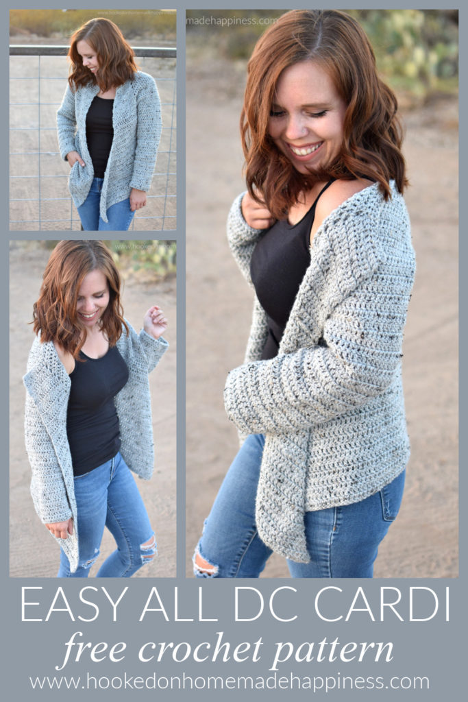 Easy All DC Cardi Crochet Pattern -The Easy All DC Cardi Crochet Pattern is just that! Easy & all double crochet! There isn't any sewing, cuffs, or collars. Just a simple, no fuss sweater using a basic, beginner stitch.