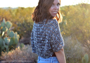 Sidewalk Shrug Crochet Pattern - The Sidewalk Shrug Crochet Pattern is a beginner friendly, lightweight shrug that is perfect for warm fall afternoons.