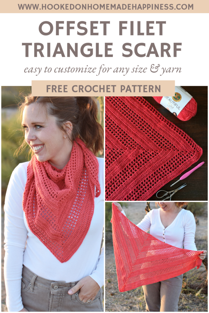 Offset Filet Triangle Scarf Crochet Pattern - The Offset Filet Triangle Scarf Crochet Pattern has a fun design that is easily made with an 8 row repeat!