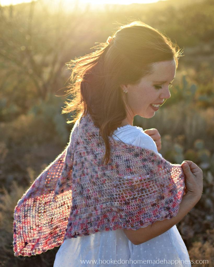 Romance Wrap Crochet Pattern - The Romance Wrap Crochet Pattern is the perfect lightweight wrap for spring and summer.