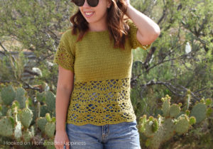 Bahama Blouse Crochet Pattern - The Bahama Blouse Crochet Pattern is a fun and flirty top, perfect for your spring outings. The beautiful lace design along the bottom adds a pretty and feminine touch. This raglan style blouse is worked from the top down and requires no sewing.
