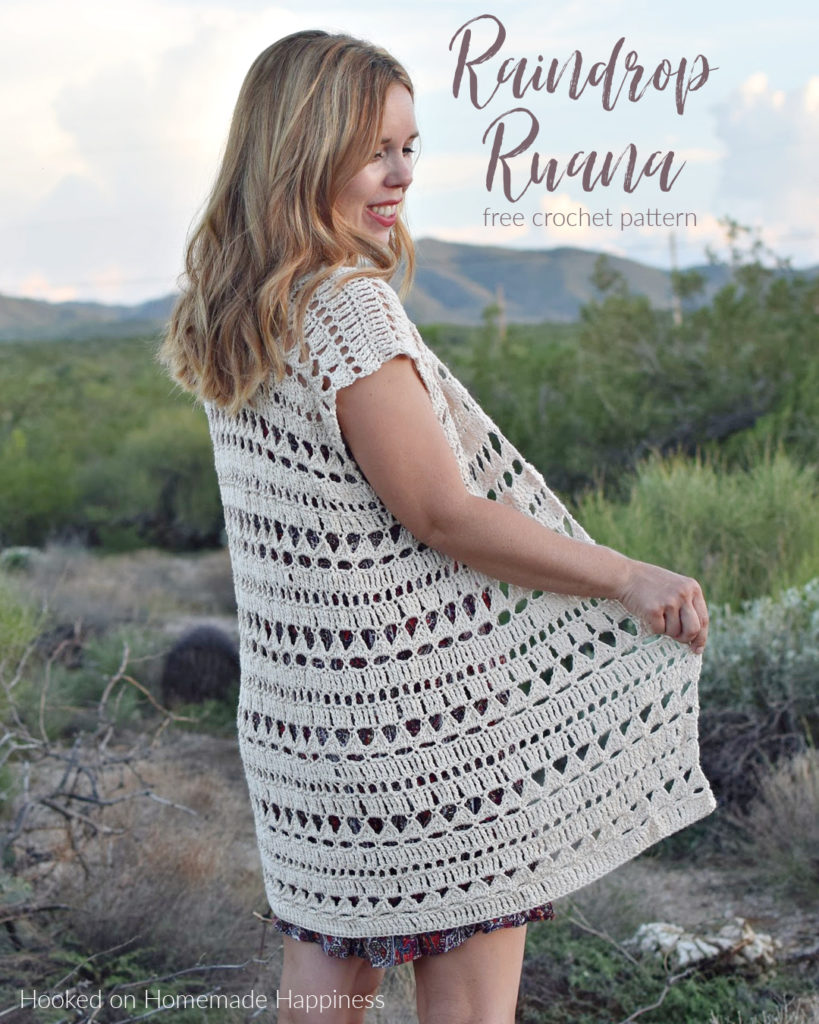 Raindrop Ruana Crochet Pattern - The Raindrop Ruana Crochet Pattern has a unique stitch combination and a simple all-in-one construction. This lightweight piece is perfect for layering on a warm evening out.