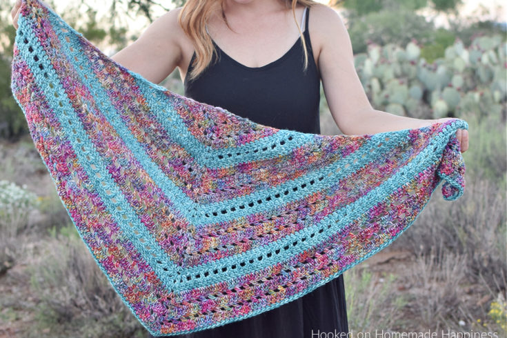 Stained Glass Triangle Wrap Crochet Pattern - The Stained Glass Triangle Wrap Crochet Pattern is a beginner level shawl. The only stitches needed are double crochet and chain stitch! I love how those two simple stitches can create such a pretty design.